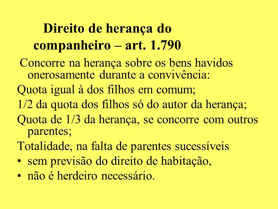 Direito de herança do companheiro – art. 1.790