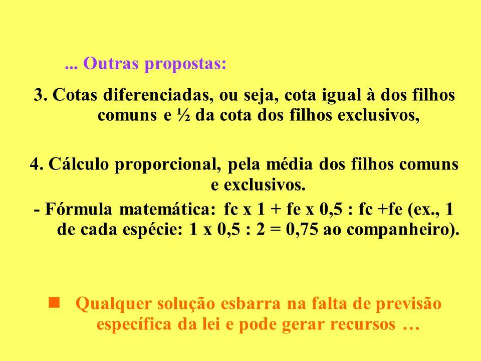 4. Cálculo proporcional, pela média dos filhos comuns e exclusivos.