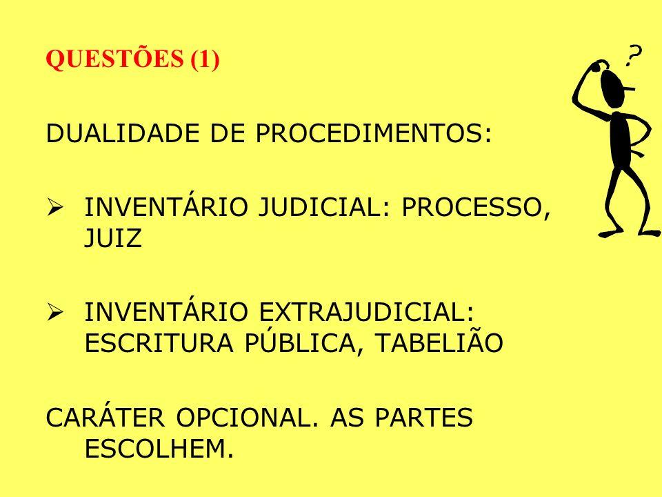 QUESTÕES (1) DUALIDADE DE PROCEDIMENTOS: INVENTÁRIO JUDICIAL: PROCESSO, JUIZ. INVENTÁRIO EXTRAJUDICIAL: ESCRITURA PÚBLICA, TABELIÃO.