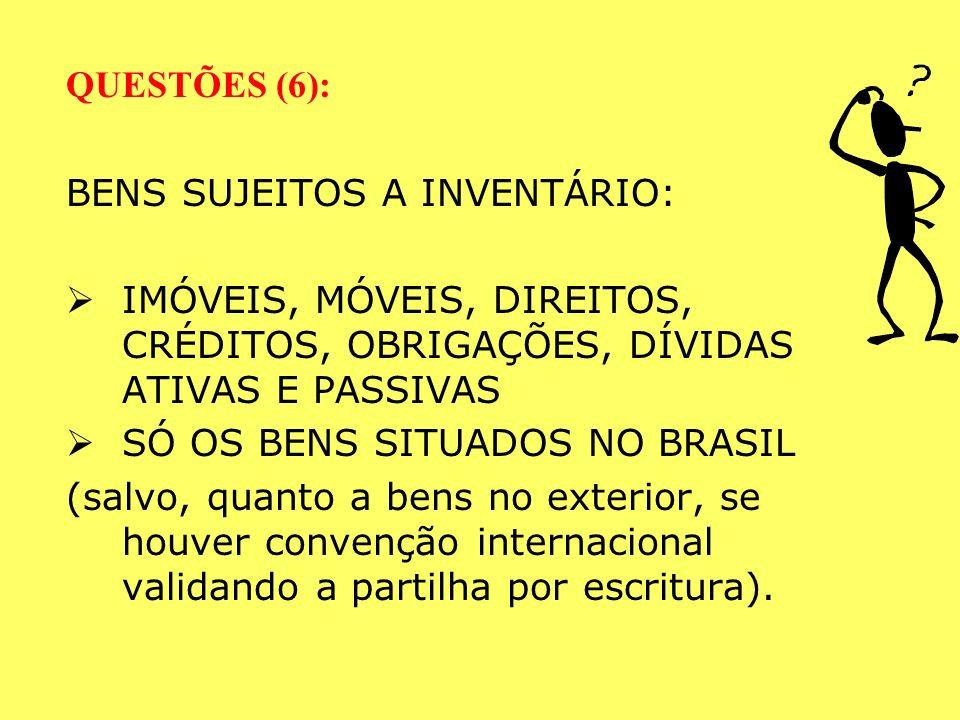 QUESTÕES (6): BENS SUJEITOS A INVENTÁRIO: IMÓVEIS, MÓVEIS, DIREITOS, CRÉDITOS, OBRIGAÇÕES, DÍVIDAS ATIVAS E PASSIVAS.