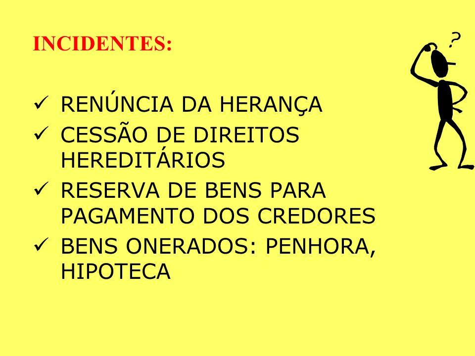 INCIDENTES: RENÚNCIA DA HERANÇA. CESSÃO DE DIREITOS HEREDITÁRIOS. RESERVA DE BENS PARA PAGAMENTO DOS CREDORES.