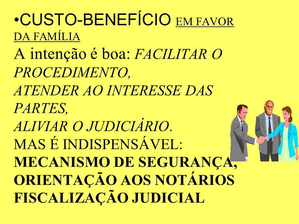 CUSTO-BENEFÍCIO EM FAVOR DA FAMÍLIA A intenção é boa: FACILITAR O PROCEDIMENTO, ATENDER AO INTERESSE DAS PARTES, ALIVIAR O JUDICIÁRIO.