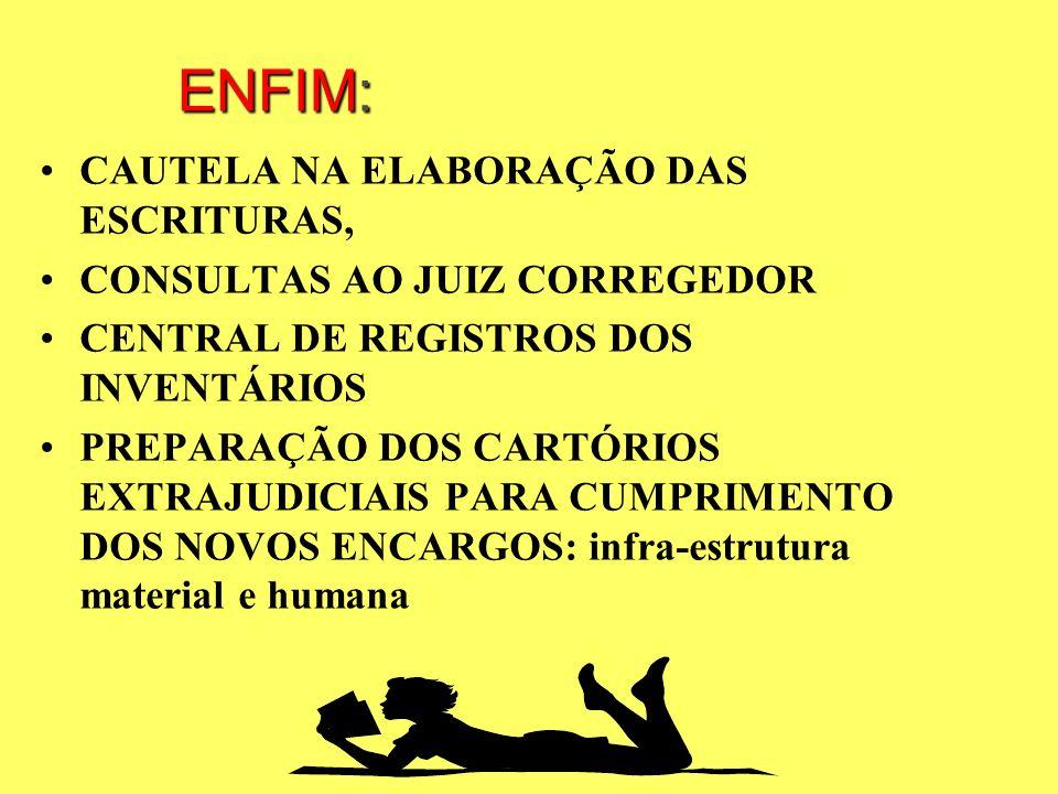 ENFIM: CAUTELA NA ELABORAÇÃO DAS ESCRITURAS,