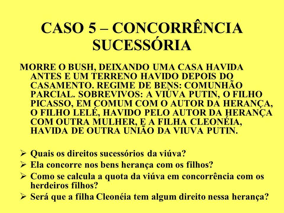 CASO 5 – CONCORRÊNCIA SUCESSÓRIA