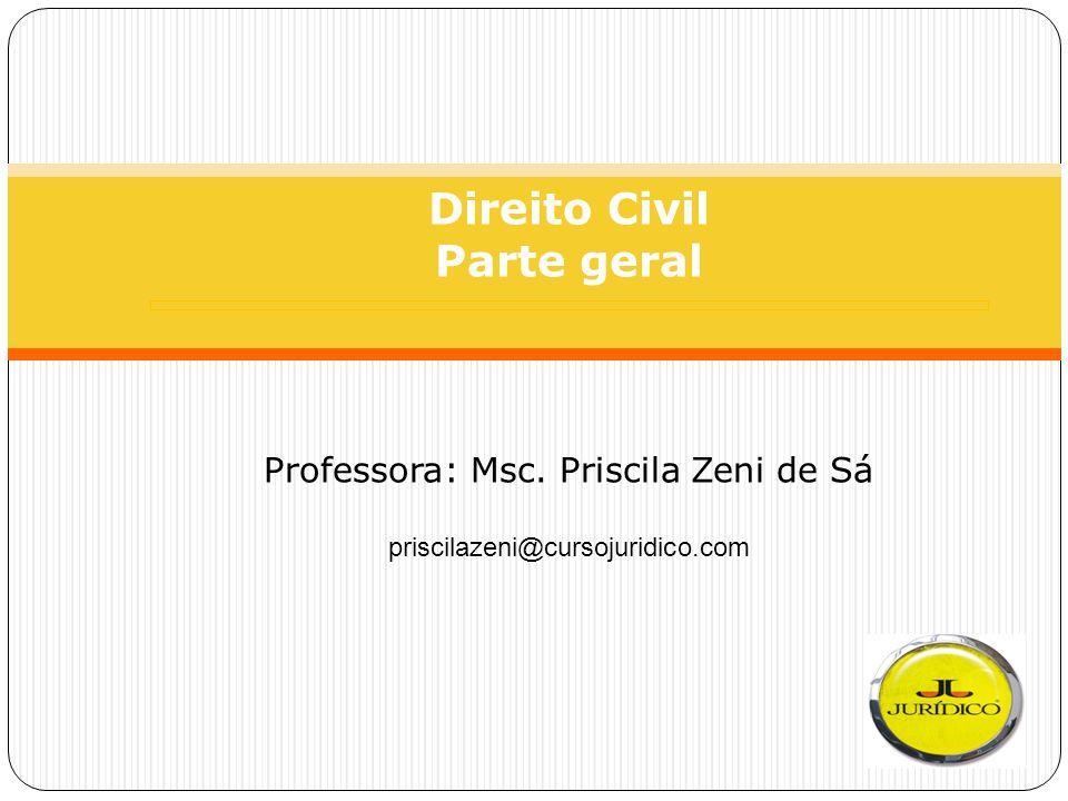 Direito Civil Parte geral Professora: Msc