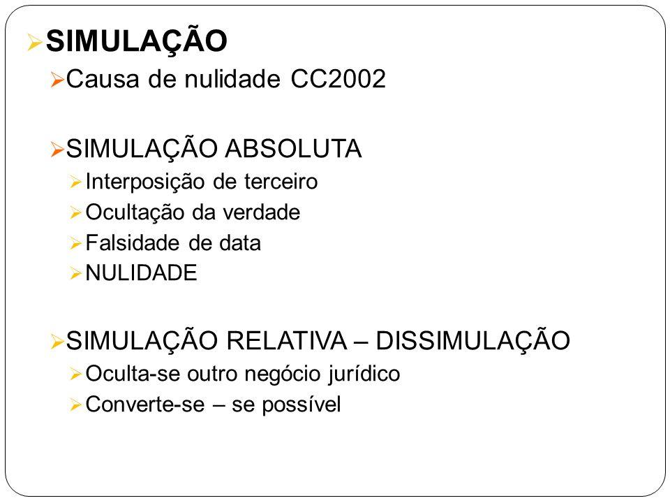 SIMULAÇÃO Causa de nulidade CC2002 SIMULAÇÃO ABSOLUTA
