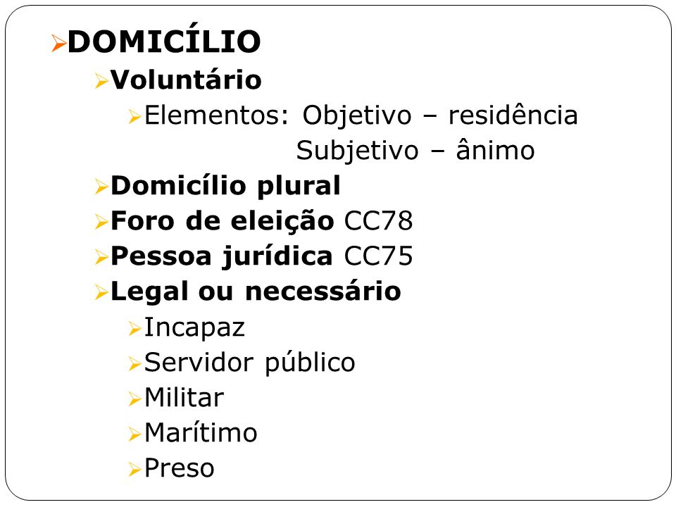 DOMICÍLIO Voluntário Elementos: Objetivo – residência
