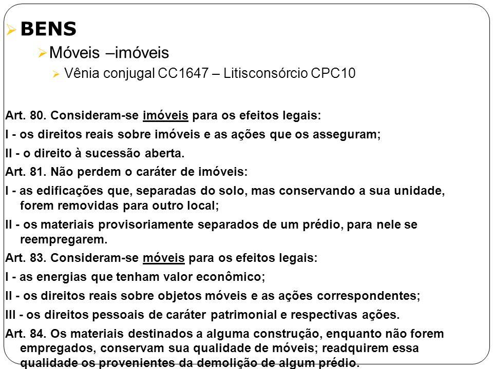 BENS Móveis –imóveis Vênia conjugal CC1647 – Litisconsórcio CPC10