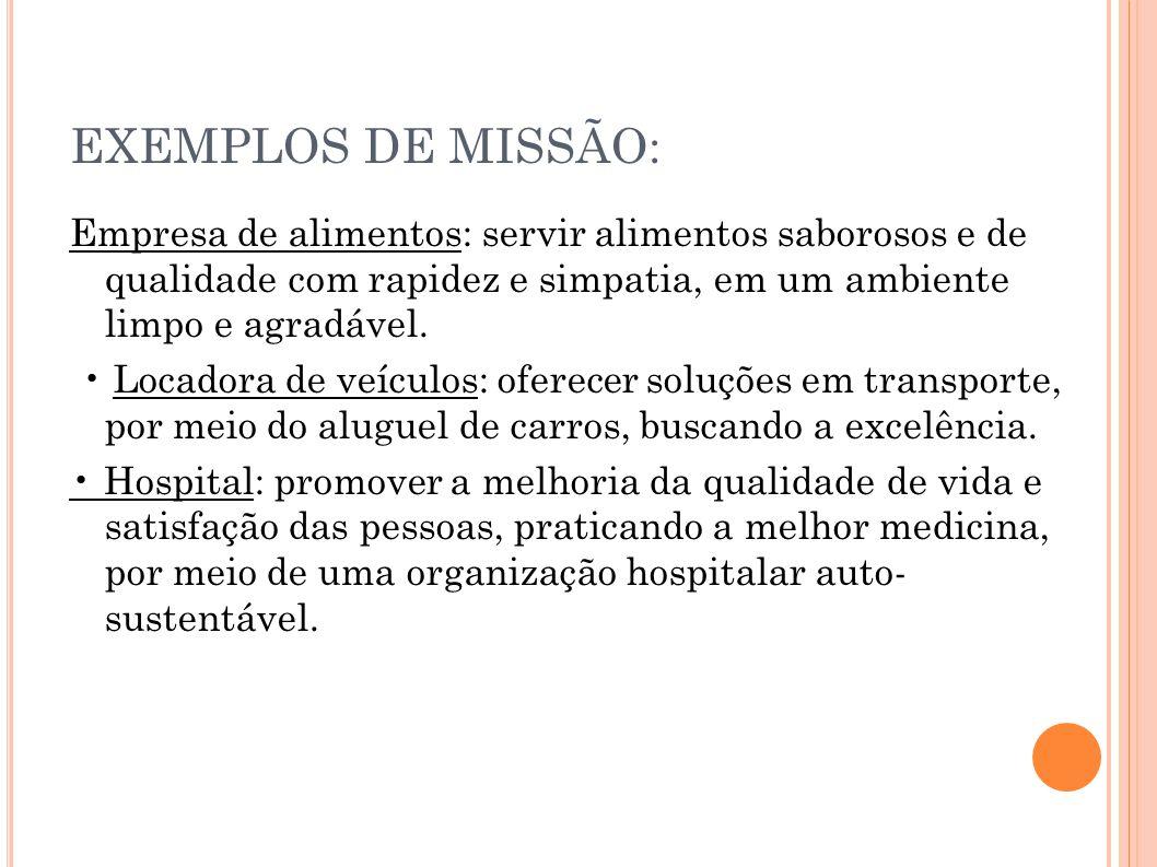 EXEMPLOS DE MISSÃO: