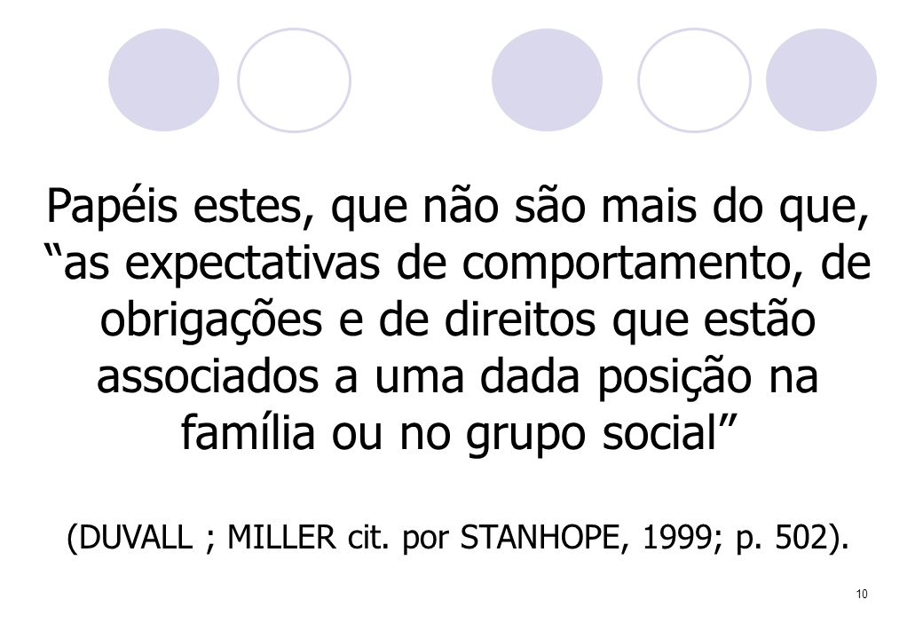(DUVALL ; MILLER cit. por STANHOPE, 1999; p. 502).