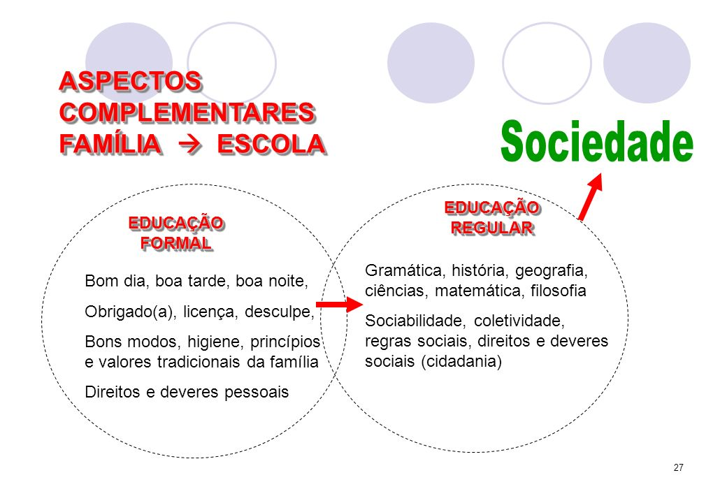 Sociedade ASPECTOS COMPLEMENTARES FAMÍLIA  ESCOLA EDUCAÇÃO REGULAR