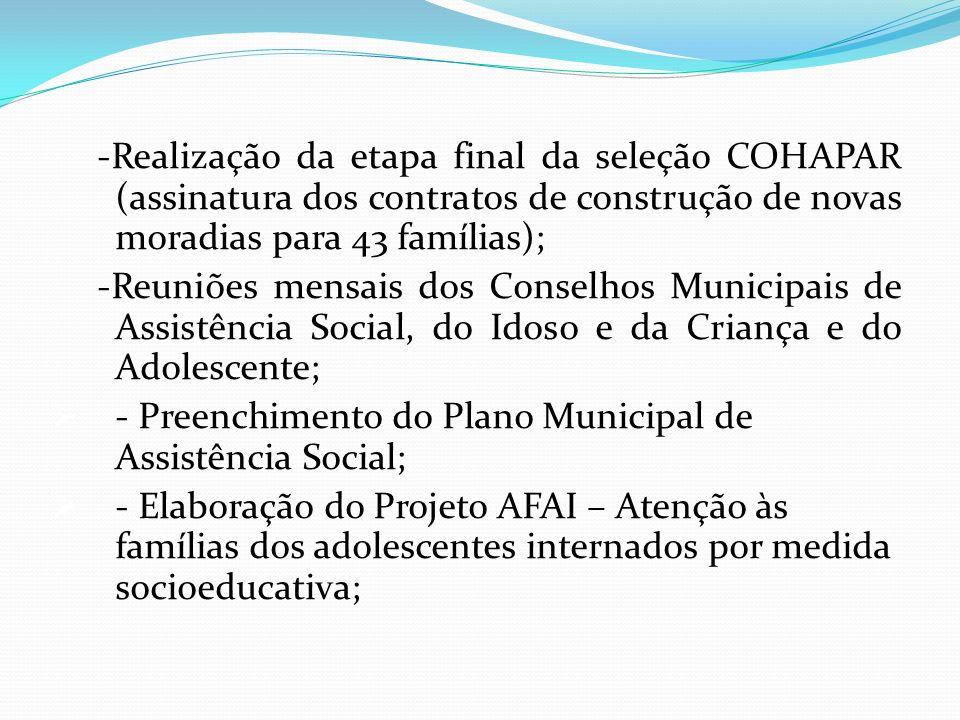 -Realização da etapa final da seleção COHAPAR (assinatura dos contratos de construção de novas moradias para 43 famílias);