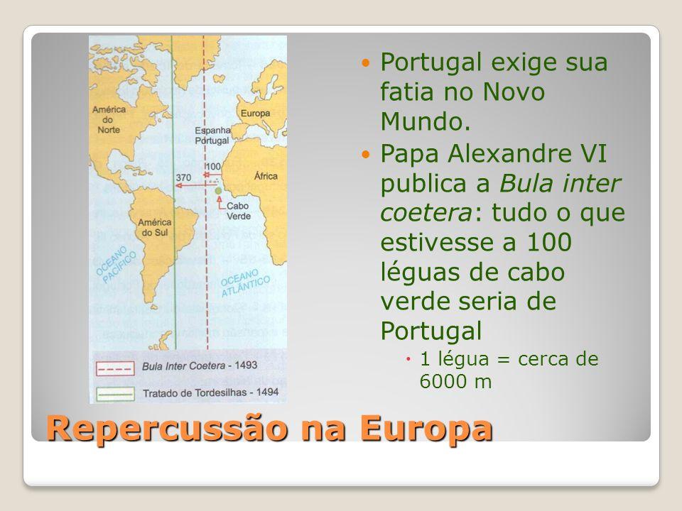 Repercussão na Europa Portugal exige sua fatia no Novo Mundo.