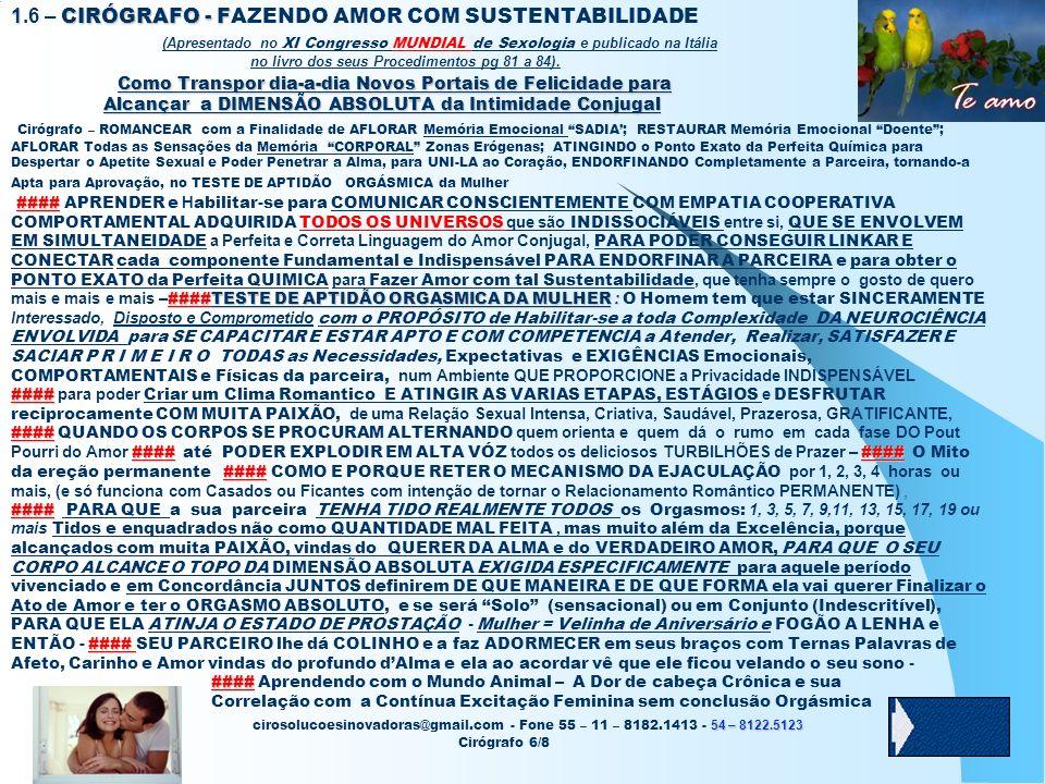 1.6 – CIRÓGRAFO - FAZENDO AMOR COM SUSTENTABILIDADE (Apresentado no XI Congresso MUNDIAL de Sexologia e publicado na Itália no livro dos seus Procedimentos pg 81 a 84).