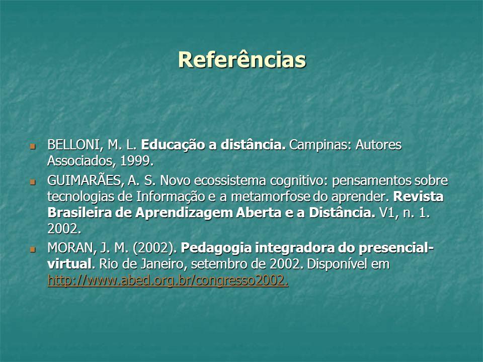 ReferênciasBELLONI, M. L. Educação a distância. Campinas: Autores Associados, 1999.