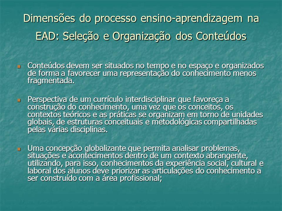 Dimensões do processo ensino-aprendizagem na EAD: Seleção e Organização dos Conteúdos