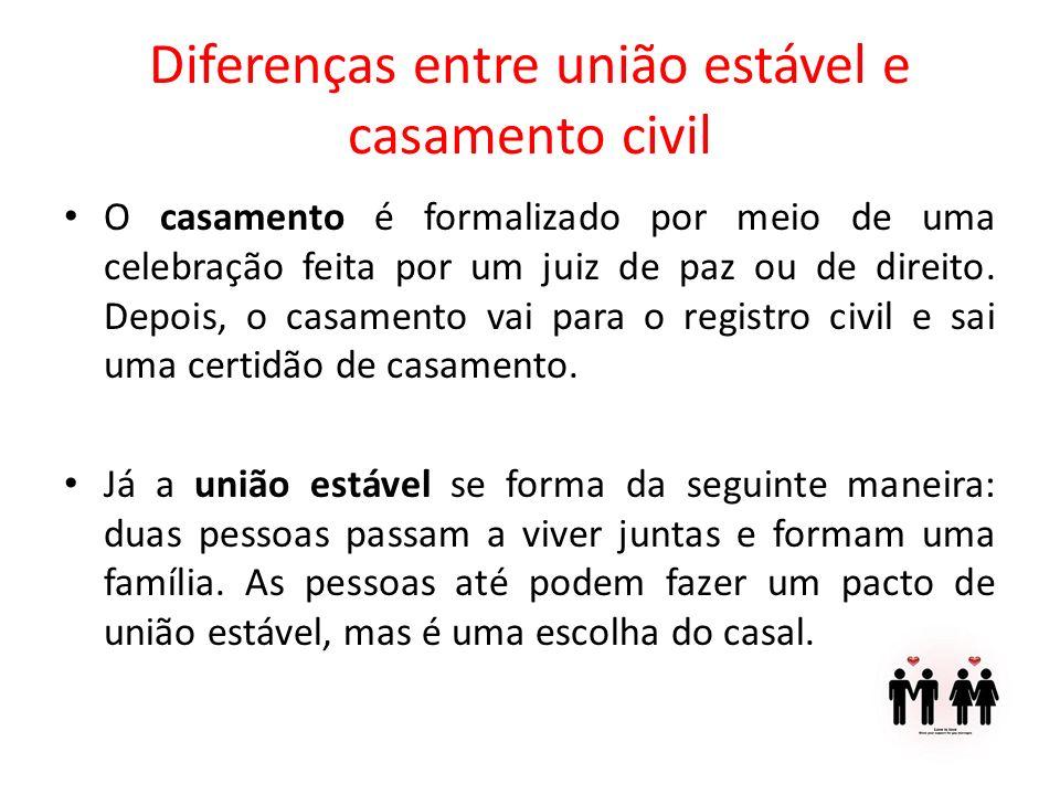 Diferenças entre união estável e casamento civil