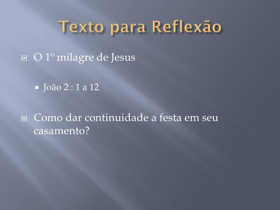 Texto para Reflexão O 1º milagre de Jesus