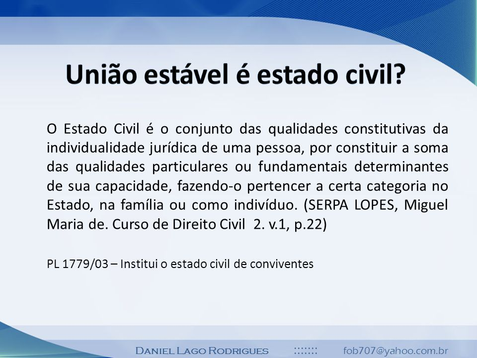 União estável é estado civil