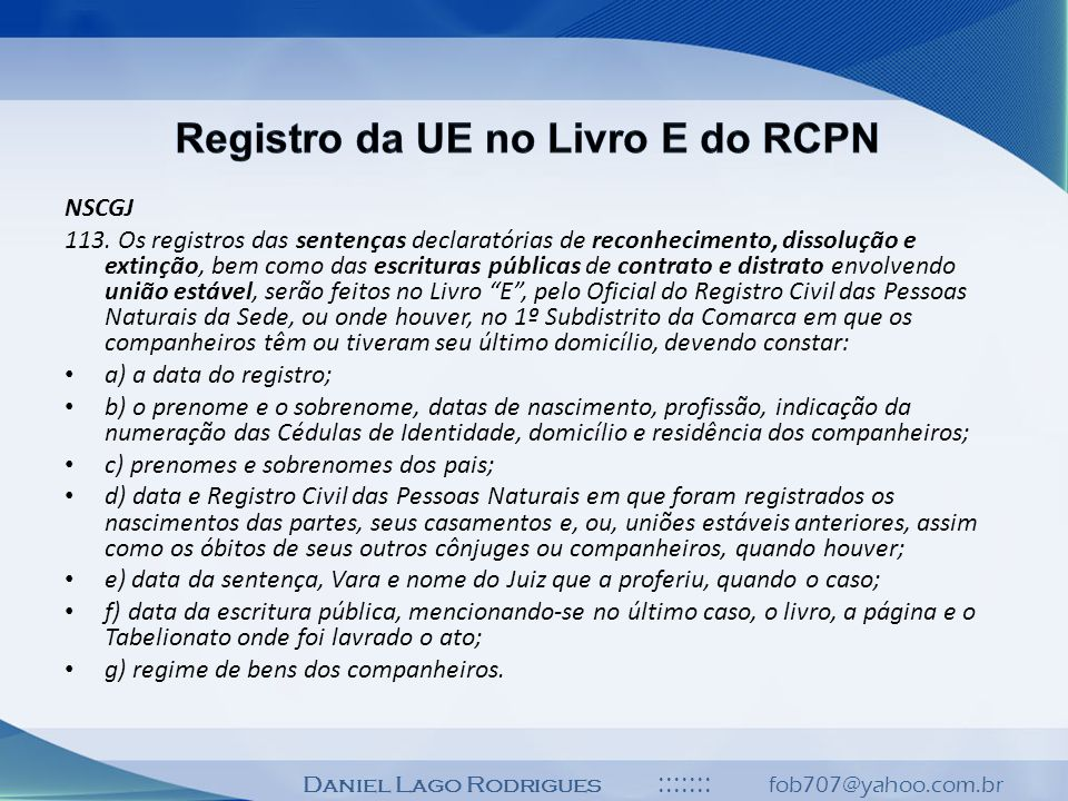 Registro da UE no Livro E do RCPN