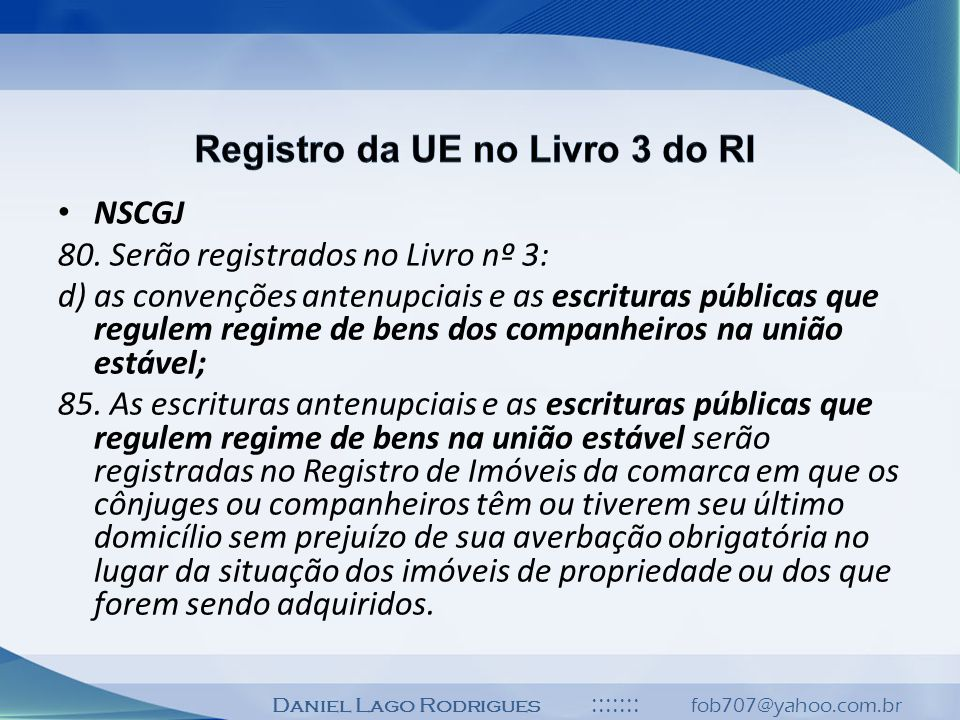 Registro da UE no Livro 3 do RI