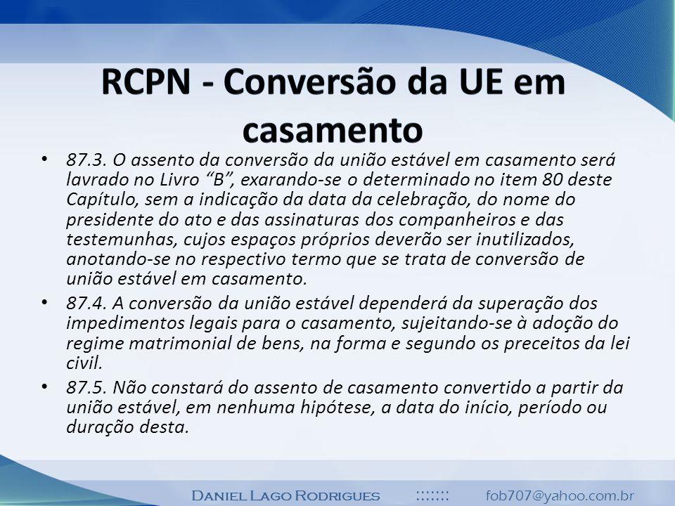 RCPN - Conversão da UE em casamento