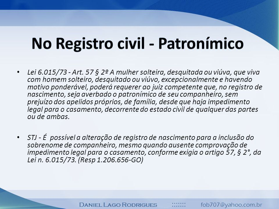 No Registro civil - Patronímico