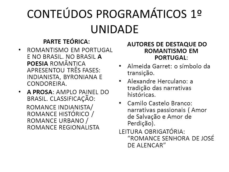 CONTEÚDOS PROGRAMÁTICOS 1º UNIDADE