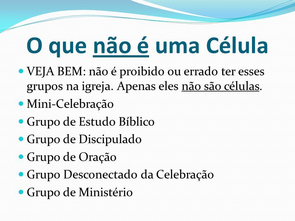 O que não é uma Célula VEJA BEM: não é proibido ou errado ter esses grupos na igreja. Apenas eles não são células.