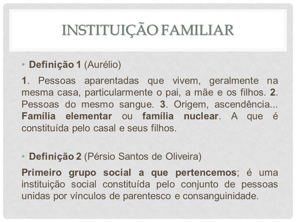 Instituição familiar Definição 1 (Aurélio)