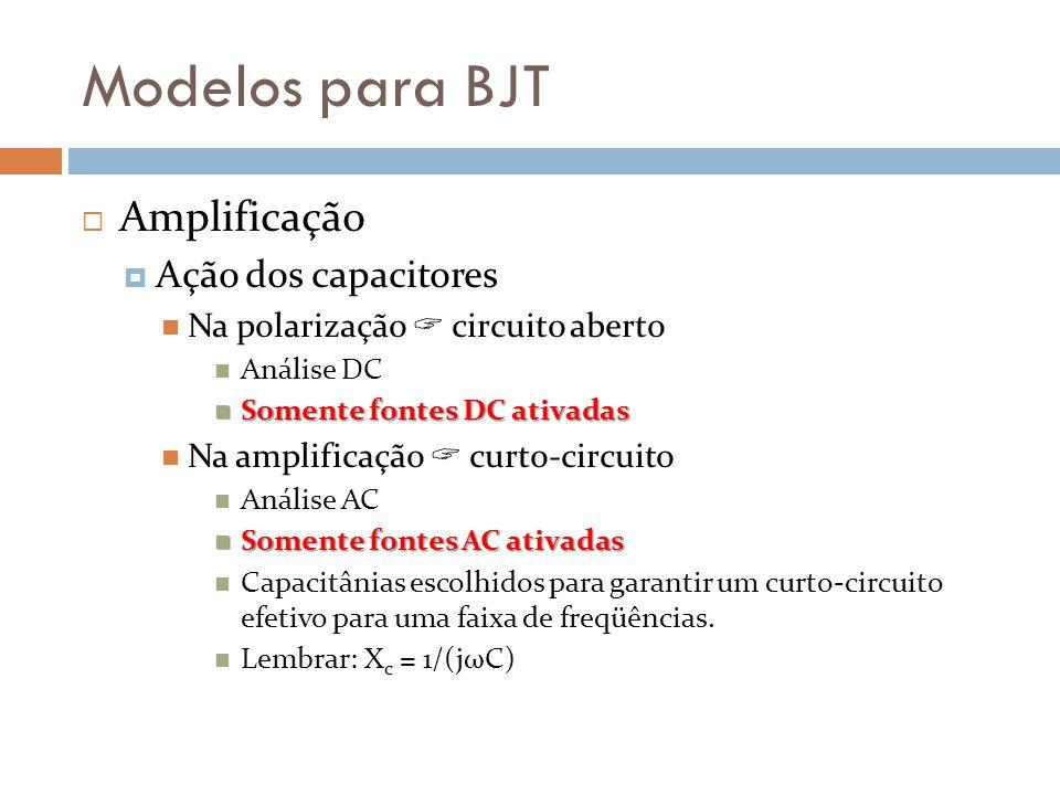 Modelos para BJT Amplificação Ação dos capacitores