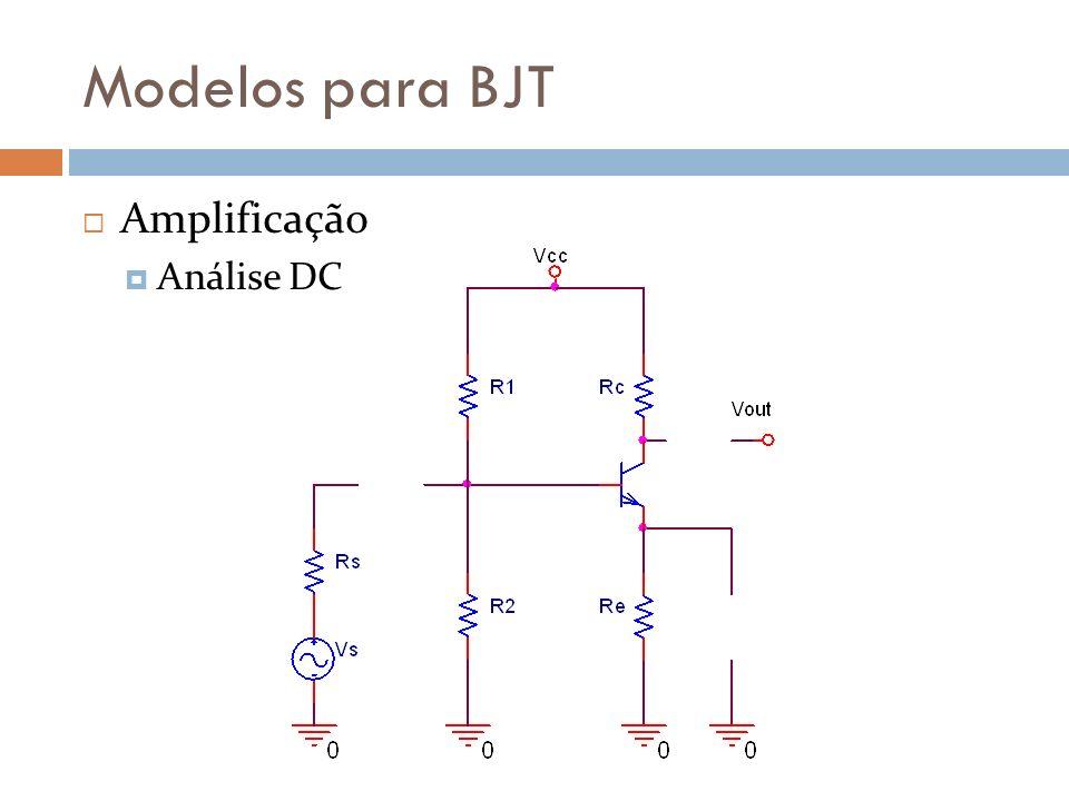 Modelos para BJT Amplificação Análise DC