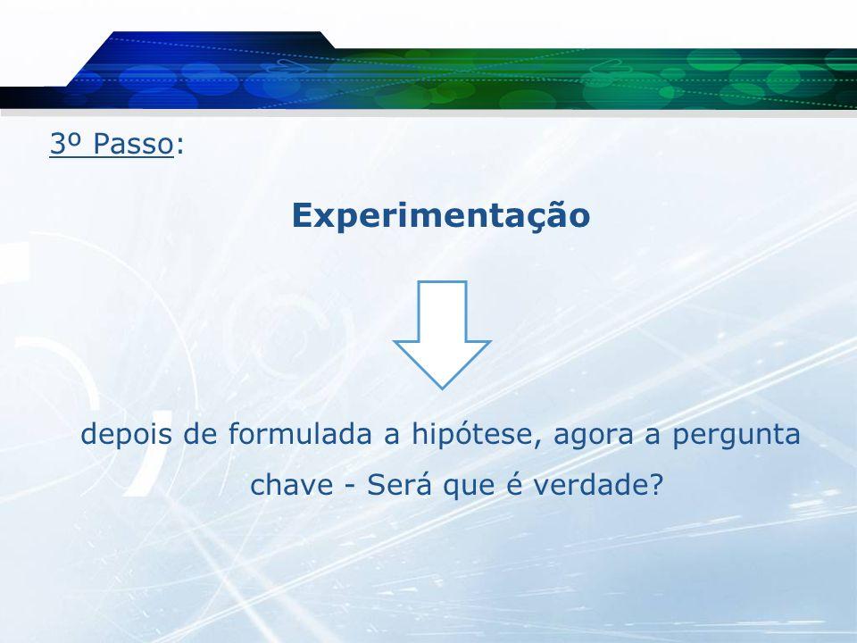 Experimentação 3º Passo:
