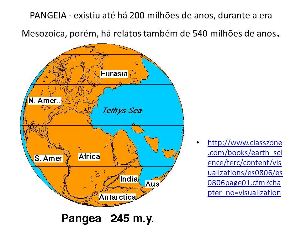 PANGEIA - existiu até há 200 milhões de anos, durante a era Mesozoica, porém, há relatos também de 540 milhões de anos.