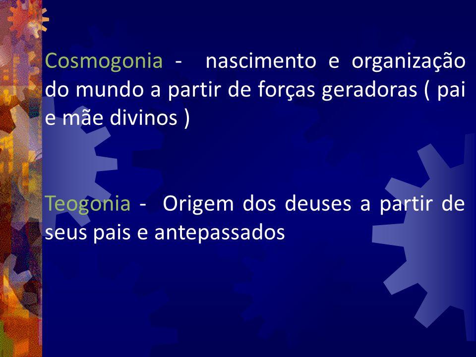 Cosmogonia - nascimento e organização do mundo a partir de forças geradoras ( pai e mãe divinos )