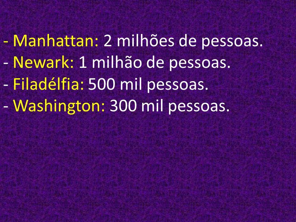 - Manhattan: 2 milhões de pessoas. - Newark: 1 milhão de pessoas