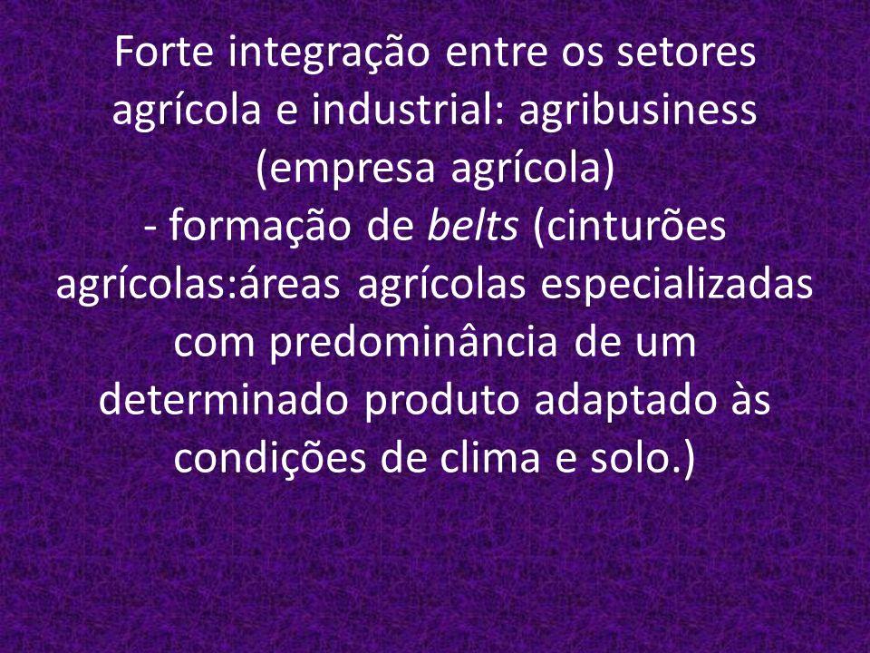 Forte integração entre os setores agrícola e industrial: agribusiness (empresa agrícola) - formação de belts (cinturões agrícolas:áreas agrícolas especializadas com predominância de um determinado produto adaptado às condições de clima e solo.)