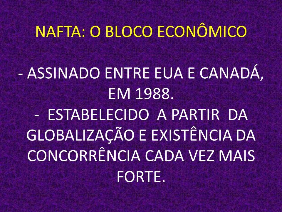 NAFTA: O BLOCO ECONÔMICO - ASSINADO ENTRE EUA E CANADÁ, EM 1988