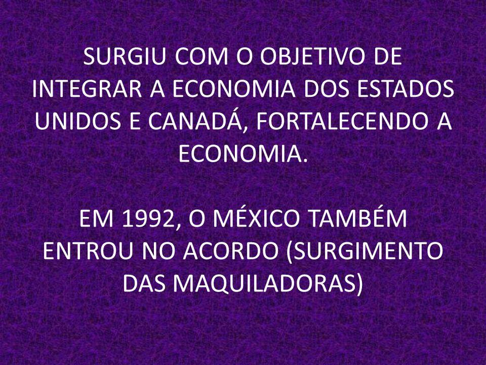 SURGIU COM O OBJETIVO DE INTEGRAR A ECONOMIA DOS ESTADOS UNIDOS E CANADÁ, FORTALECENDO A ECONOMIA.