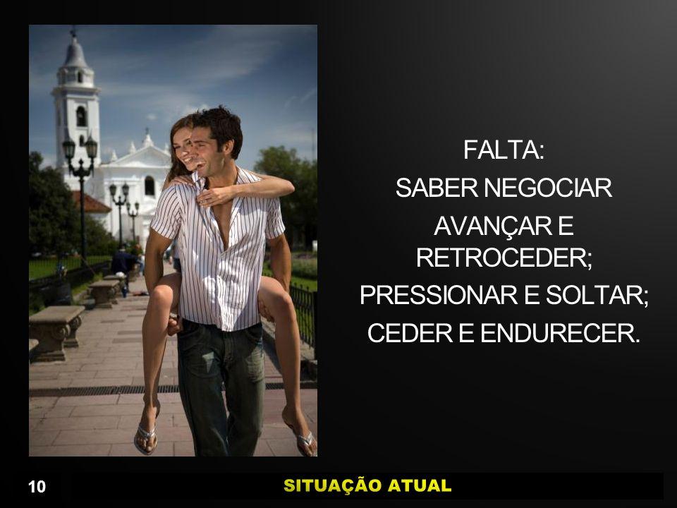 FALTA: SABER NEGOCIAR AVANÇAR E RETROCEDER; PRESSIONAR E SOLTAR; CEDER E ENDURECER.