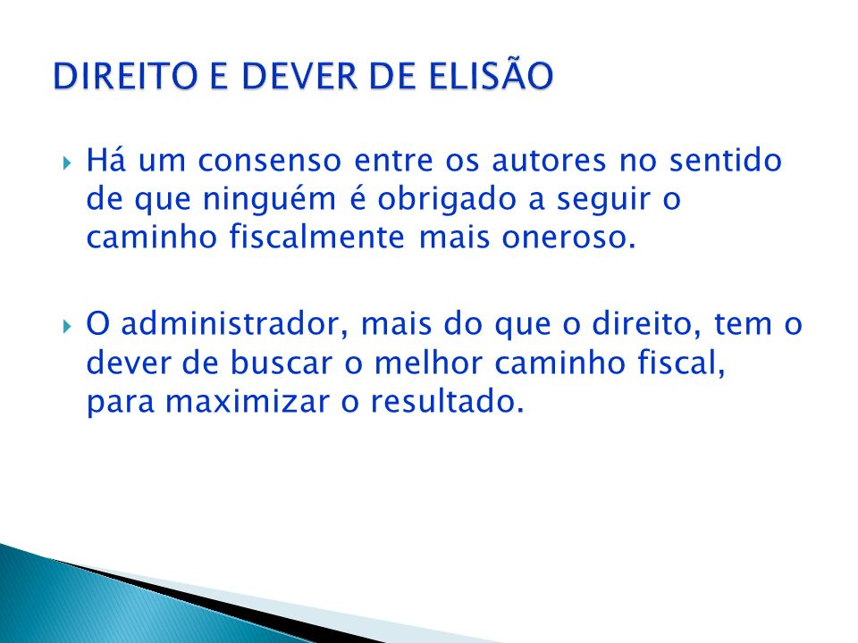 DIREITO E DEVER DE ELISÃO