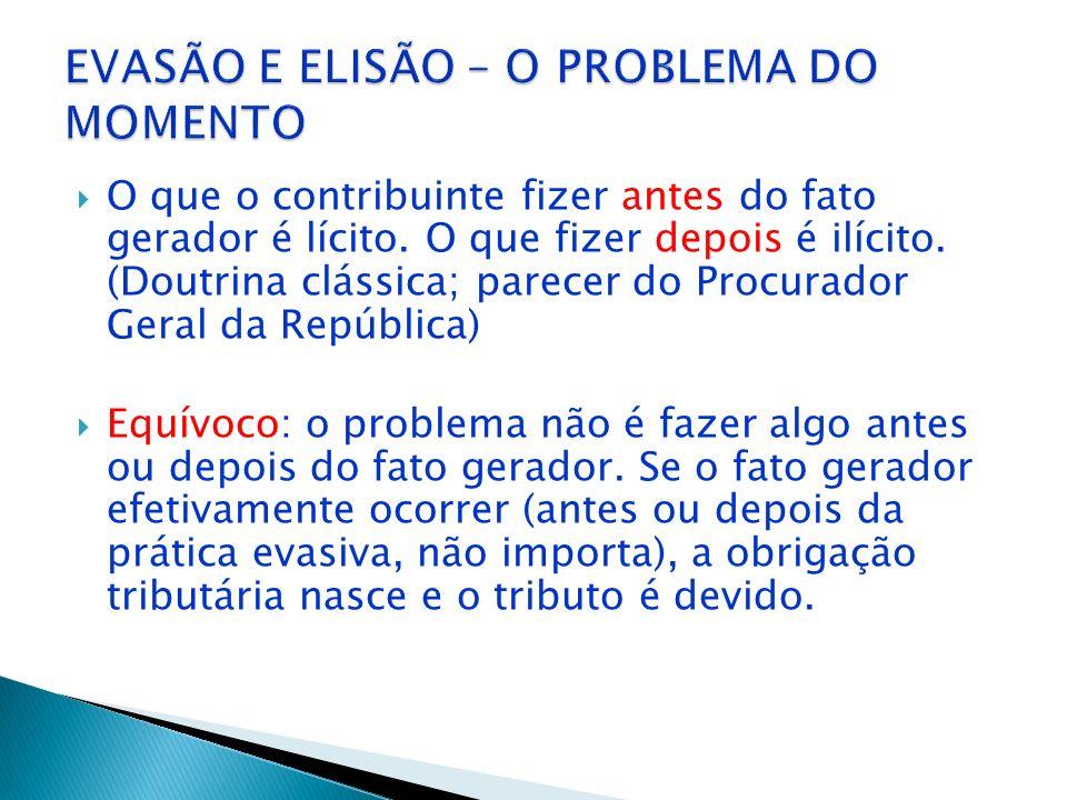 EVASÃO E ELISÃO – O PROBLEMA DO MOMENTO