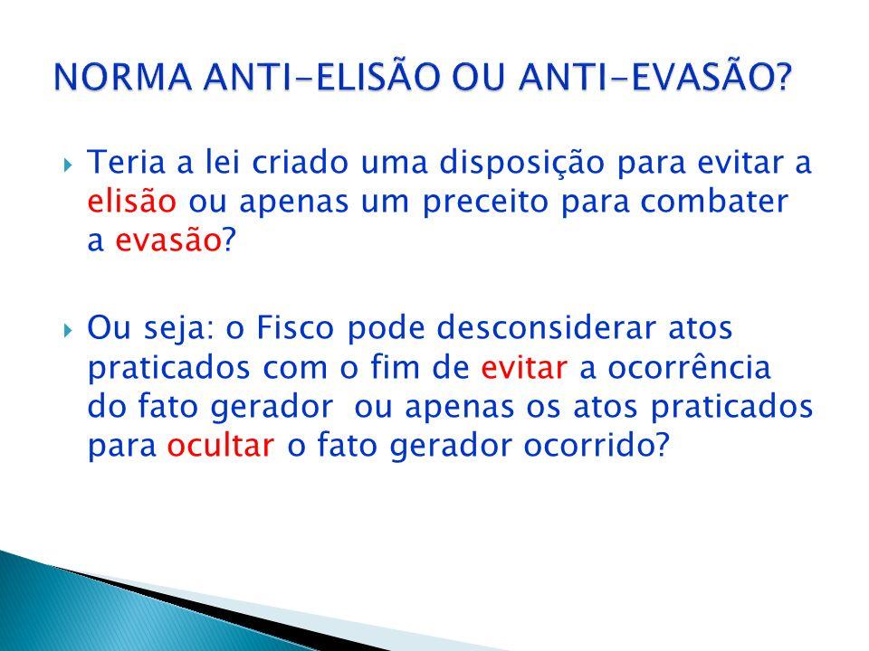 NORMA ANTI-ELISÃO OU ANTI-EVASÃO