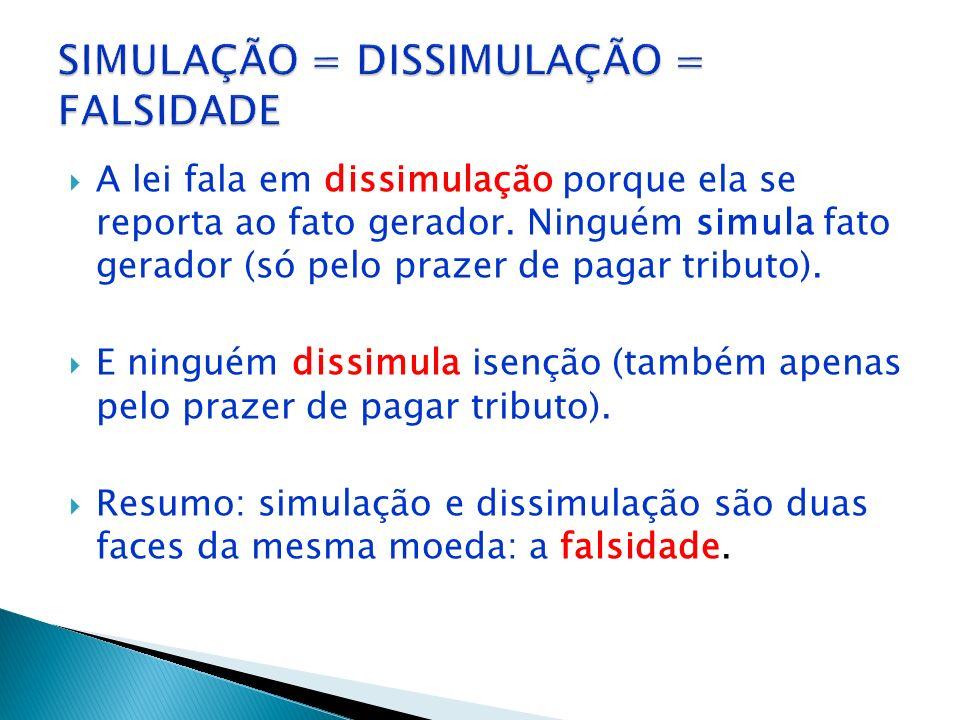 SIMULAÇÃO = DISSIMULAÇÃO = FALSIDADE
