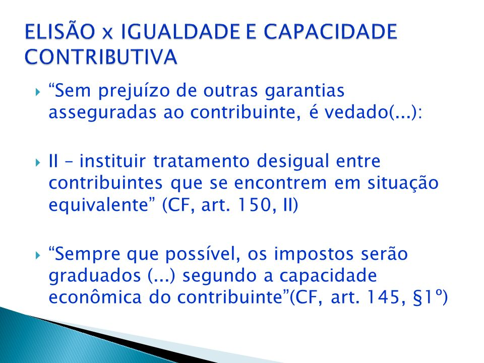 ELISÃO x IGUALDADE E CAPACIDADE CONTRIBUTIVA