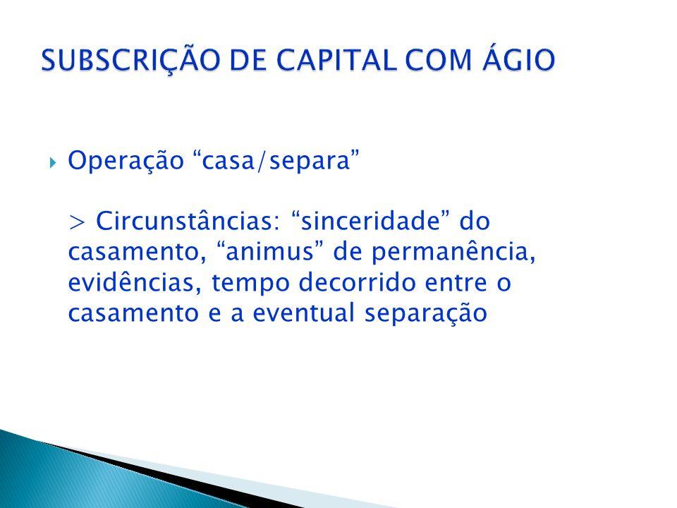 SUBSCRIÇÃO DE CAPITAL COM ÁGIO