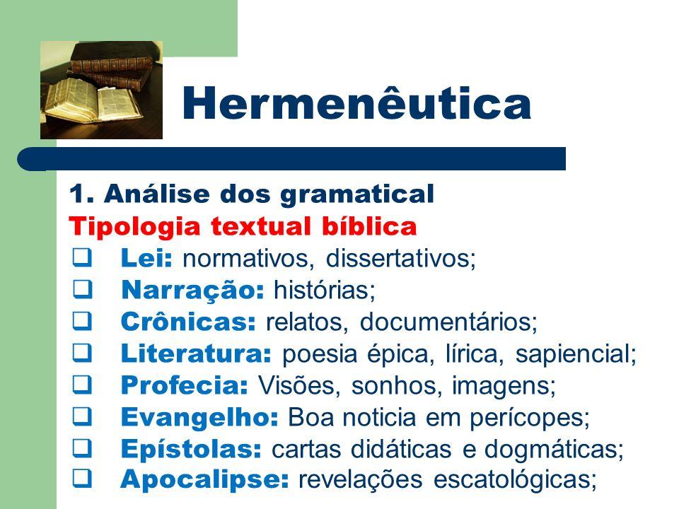 Hermenêutica 1. Análise dos gramatical Tipologia textual bíblica