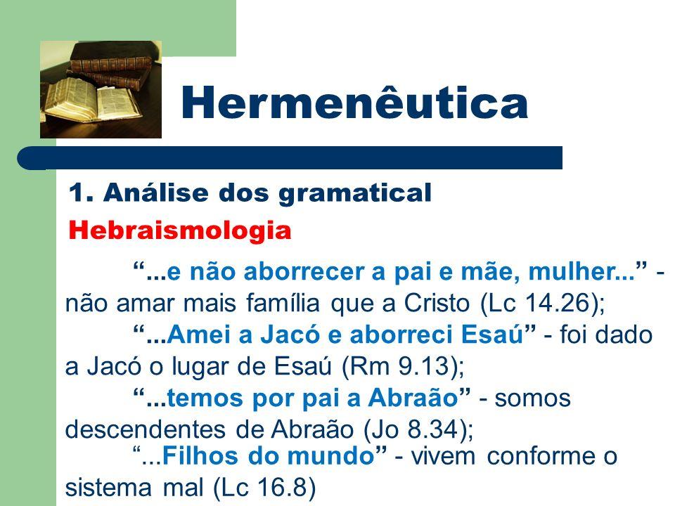 Hermenêutica 1. Análise dos gramatical Hebraismologia