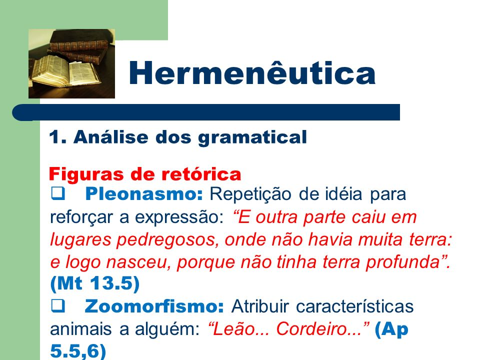 Hermenêutica 1. Análise dos gramatical Figuras de retórica