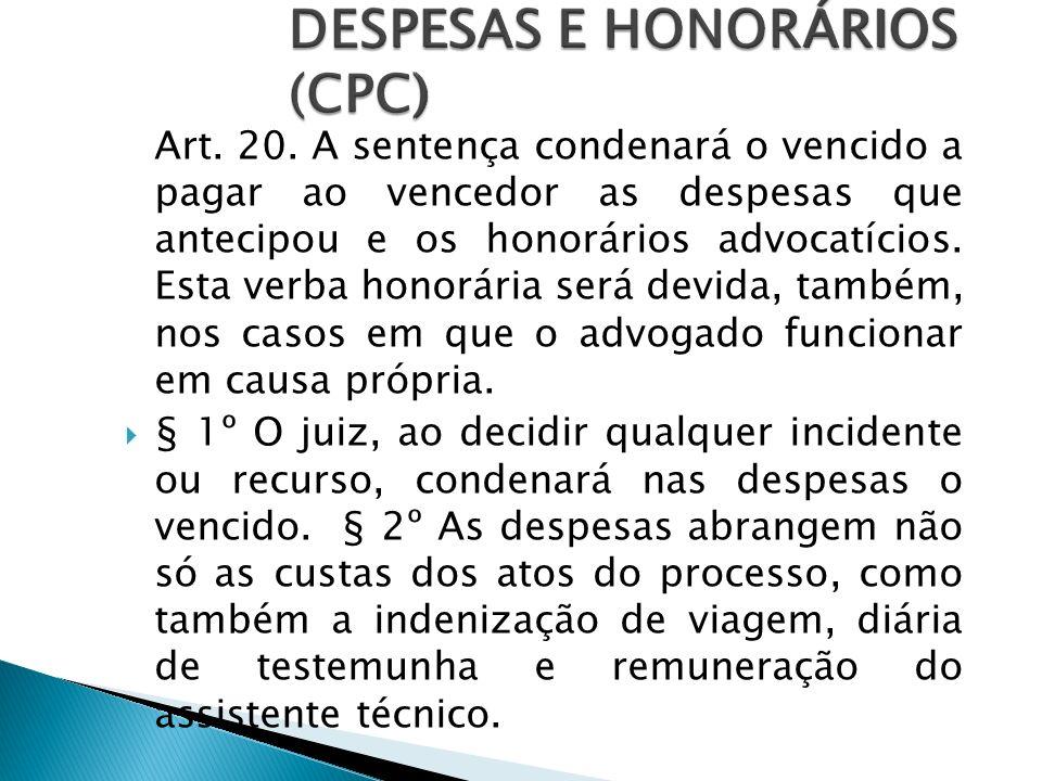 DESPESAS E HONORÁRIOS (CPC)